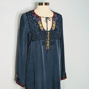 Johnny Was Biya Silk Embroidered Popover Top